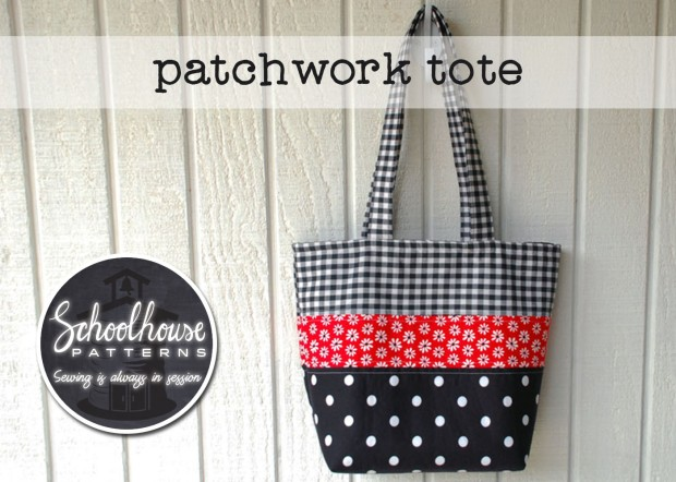 labeled patch tote black wide