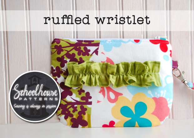 labeled ruffled wristlet wide